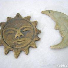 Segunda Mano: SOL Y LUNA DE CERAMICA 10.5 Y 11 CM. Lote 131203496