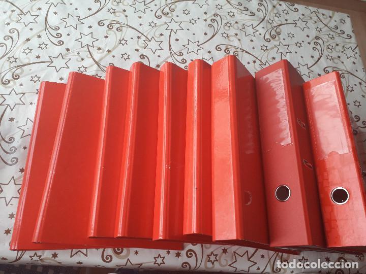 12-00034 - PACK 9 CARPETAS ROJAS DE ANILLAS, VARIOS MODELOS (Segunda Mano - Otros)