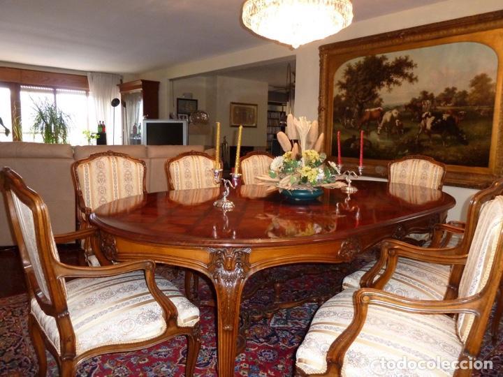 mesa comedor isabelina nogal con 8 sillones - Comprar artículos de ...