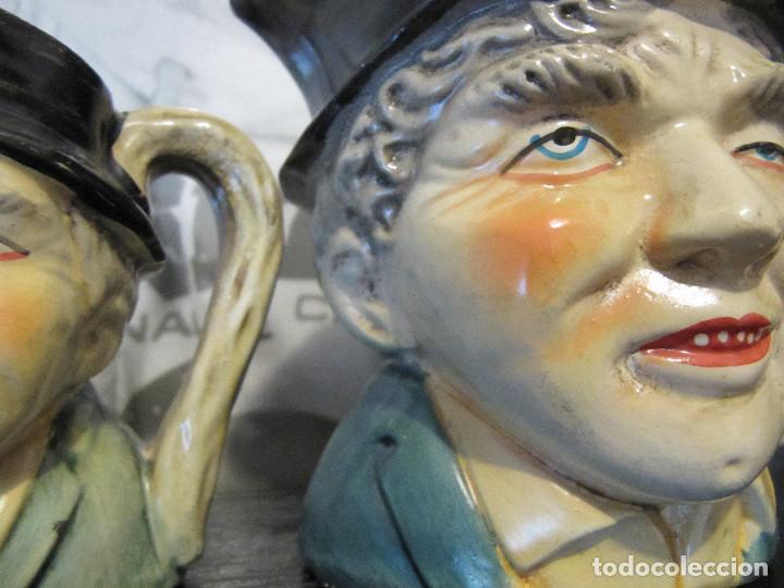 Segunda Mano: LOTE 2 ANTIGUAS JARRAS DE CABEZUDOS PINTADOS A MANO - Foto 4 - 142570266