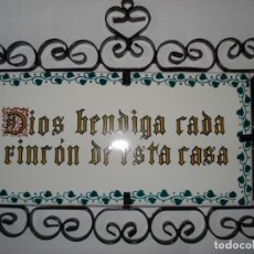 Segunda Mano: BONITO AZULEJO , DIOS BENDIGA CADA RINCON DE ESTA CASA. TAMAÑO AZULEJO SOLO 10CM X 20CM. Lote 143887186