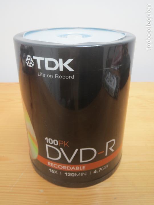 TORRE DE 100 DVD-R VIRGENES TDK NUEVO Y PRECINTADO (Segunda Mano - Artículos de electrónica)