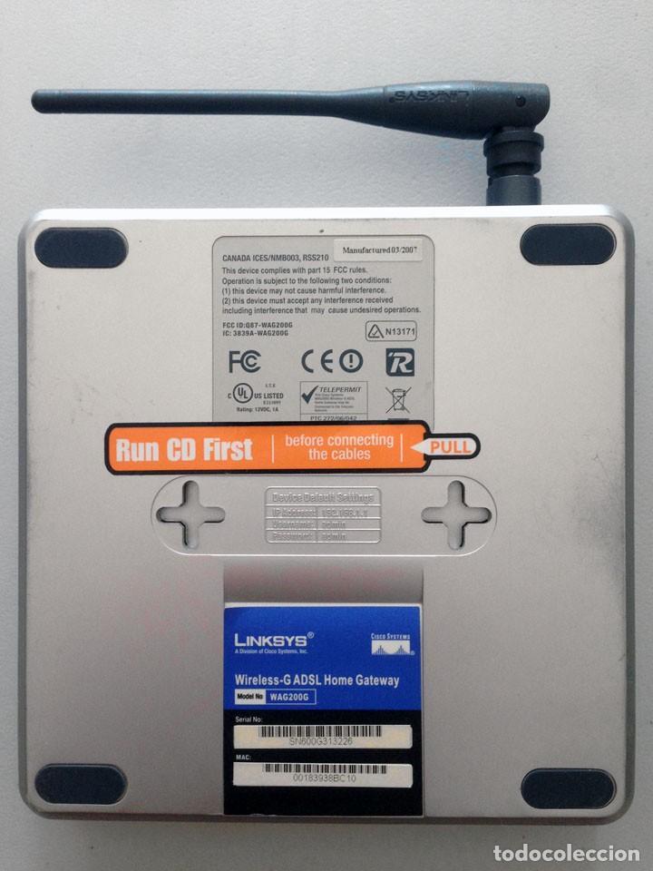 Segunda Mano: ROUTER LINKSYS WAG200G WIRELESS-G ADSL HOME GATEWAY WI-FI INALAMBRICO 2,4GHz-5GHz N/G/A/B - Foto 5 - 159870458