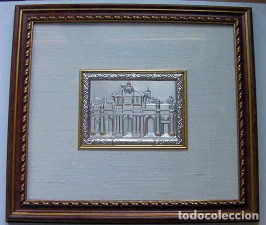 CUADRO LA PUERTA DE ALCALA MADRID EN PLATA CON CERTIFICADO TAMAÑO 34X31 CM. VER FOTOS ADICIONALES (Segunda Mano - Hogar y decoración)