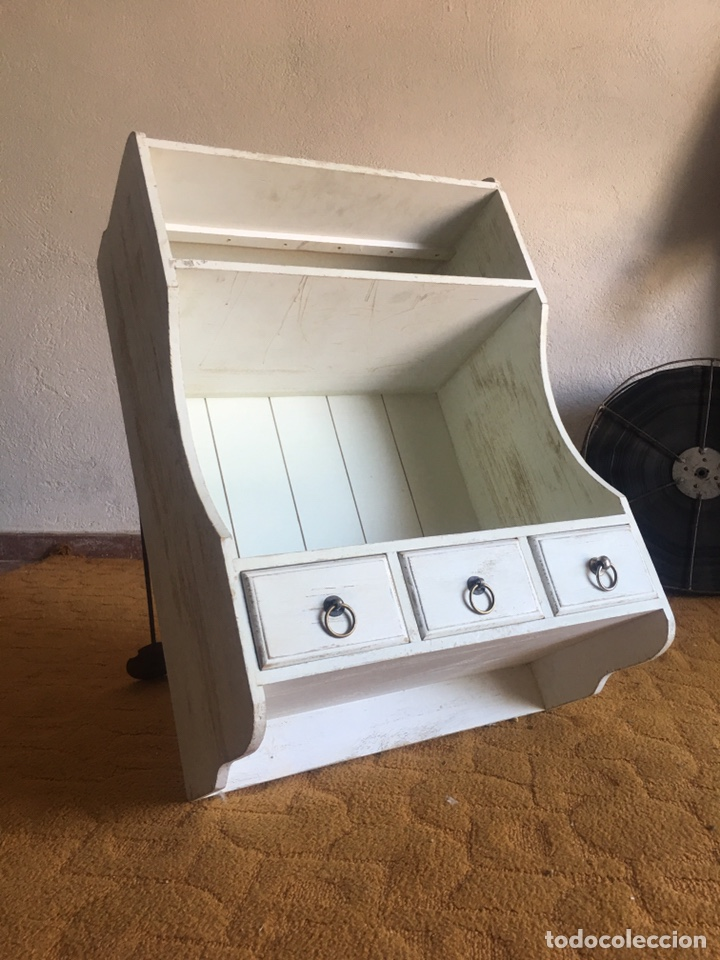 Mueble auxiliar estantería blanca shabby chic - Cajonera inferior y  estantes, decapé, baño, cocina