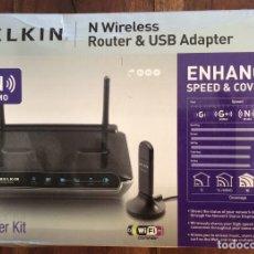 Segunda Mano: ROUTER & USB ADAPTER N WIRELESS (BELKIN). Lote 172394793