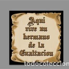 Segunda Mano: AZULEJO 10X10 DE AQUÍ VIVE UN HERMANO DE LA EXALTACIÓN. Lote 173136857