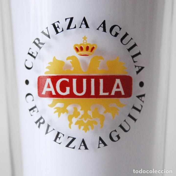 VASO ALTO CRISTAL PUBLICIDAD CERVEZA ÁGUILA (Segunda Mano - Hogar y decoración)