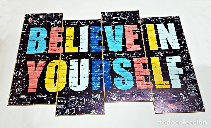 CUADRO FANTASY INSPIRACION CON LA FRASE BELIEVE IN YOURSELF. DE MDFMULTICOLOR. (Segunda Mano - Hogar y decoración)