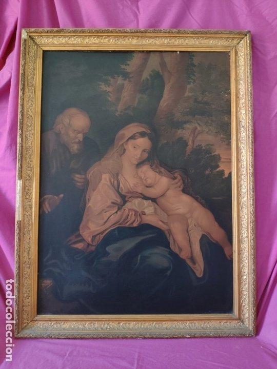 PAPEL SOBRE LIENZO VIRGEN CON NIÑO - 1000-043 (Segunda Mano - Hogar y decoración)