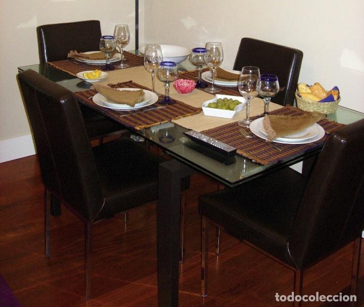 Mesa de Comedor extensible de cristal templado y hierro (se vende solo la  mesa)