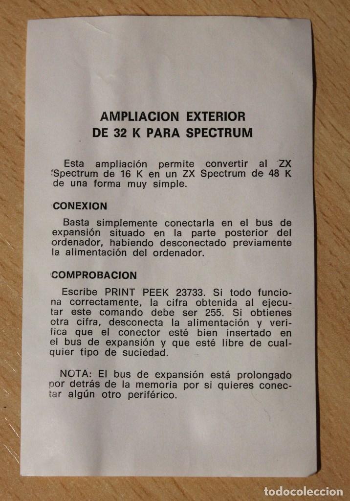 Segunda Mano: AMPLIACION DE MEMORIA DE 32K PARA ZX SPECTRUM SINCLAIR. PERFECTO ESTADO.VER 9 FOTOS.. - Foto 5 - 180260968