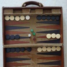 Segunda Mano: JUEGO DE MESA - BACKGAMON DE PIEL Y TELA. Lote 182618026
