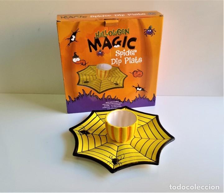 Segunda Mano: CENTRO DE MESA Y O JUEGO DE PORCELANA HALLOWEEN MAGIC SPIDER DIP PLATE - 31.CM DIAMETRO APROX - Foto 2 - 184585937