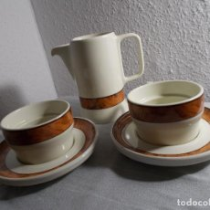 Segunda Mano: BIDASOA LOTE DESAYUNO TAZAS CAFÉ CON LECHE DOBLE + JARRA. Lote 184711470