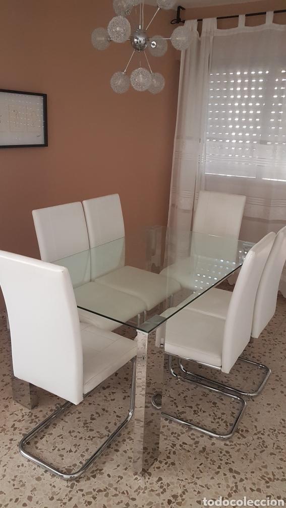 Mesa comedor cristal templado y 6 sillas