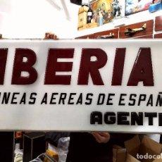 Segunda Mano: RÓTULO IBERIA AGENCIA DE VIAJES AÑOS 60'. Lote 194587253