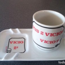 Segunda Mano: CENICERO TAZA CAFÉ MIS VICIOS. Lote 195394993