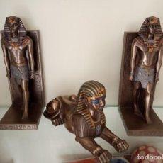 Segunda Mano: FIGURAS EGIPCIAS DECORATIVAS SOBREMESA APOYA SUJETA LIBROS Y ESFINGE EGIPTO. Lote 197731736