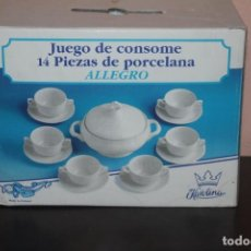 Segunda Mano: JUEGO DE CONSOME 14 PIEZAS DE PORCELANA MARCA ALLEGRO. Lote 205200630