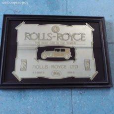 Segunda Mano: ESPEJO DE ROLLS ROYCE.MEDIDAS CON MARCO 34 X 24 CM.. Lote 206964507