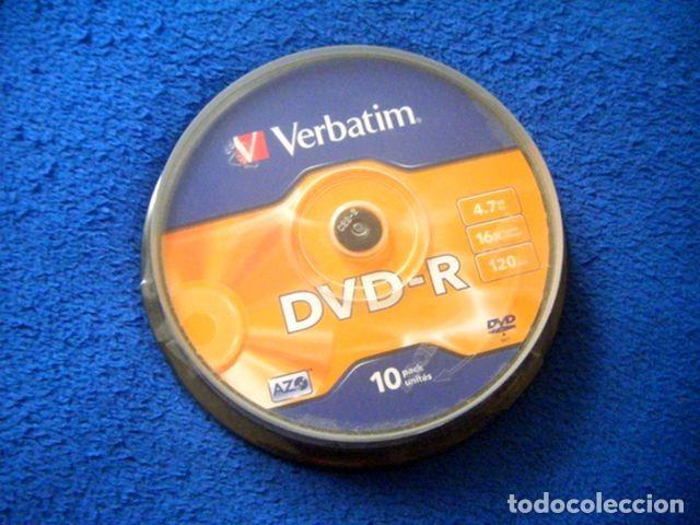 PACK LOTE 10 DVD -R 4,7 GB 16X 120 VERBATIM PRECINTADO (Segunda Mano - Artículos de electrónica)