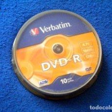 Segunda Mano: PACK LOTE 10 DVD -R 4,7 GB 16X 120 VERBATIM PRECINTADO. Lote 218710080
