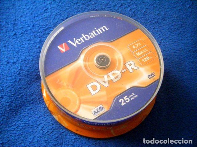 PACK LOTE 25 DVD -R 4,7 GB 16X 120 VERBATIM PRECINTADO (Segunda Mano - Artículos de electrónica)