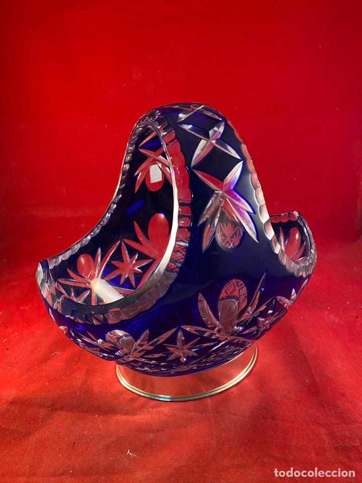 CESTA CRISTAL GRABADO PIE DE PLATA (Segunda Mano - Hogar y decoración)