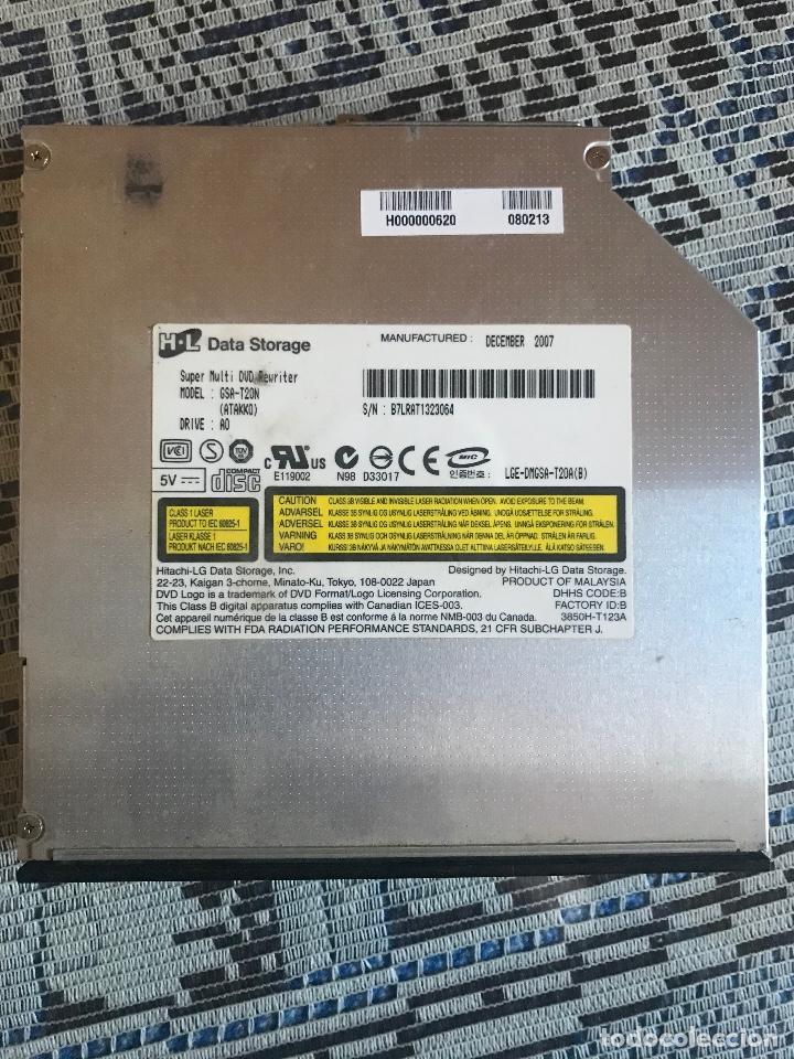 REGRABADORA PORTÁTIL HITACHI / LG GSA-T20N 12.7MM 8X DELGADA BANDEJA DVD RW IDE (Segunda Mano - Artículos de electrónica)