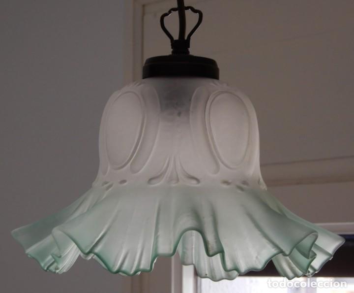 Segunda Mano: Lámpara de cristal verde. CC122 - Foto 3 - 253913235