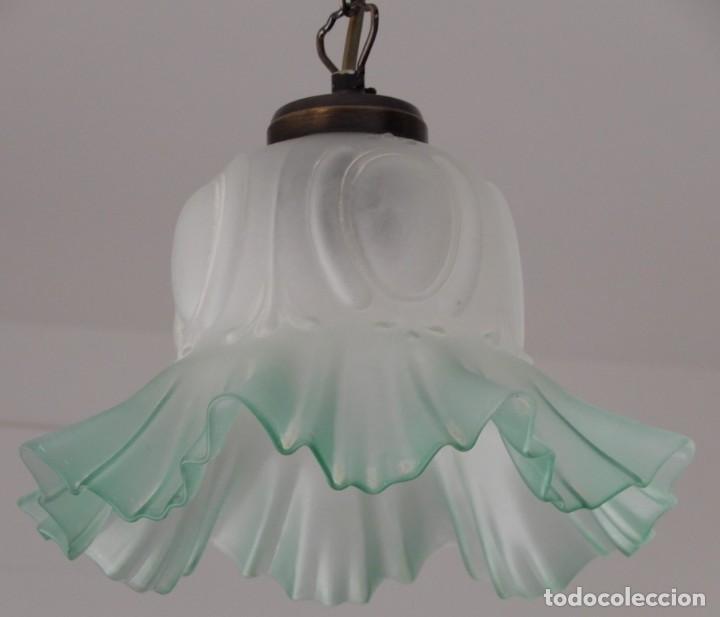 GREEN GLASS LAMP. CC122 (Segunda Mano - Hogar y decoración)
