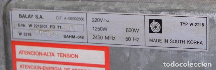 Segunda Mano: Antiguo Microondas Electrónico Balay TYP W 2218 800W BAHM-048 Made in South Korea - Foto 2 - 260065370