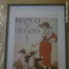 Segunda Mano: LAMINA BLANCO Y NEGRO.PORTADA, ENMARCADA CON SOPORTE Y CRISTAL.. Lote 260330810