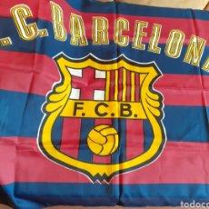 Segunda Mano: BANDERA DE BARSÇA BARCELONA FC (NUEVA A ESTRENAR) CALIDAD TEJIDO SUAVE. Lote 267225289