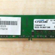 Segunda Mano: MEMORIA RAM DDR2 2GB - CRUCIAL. Lote 278641638