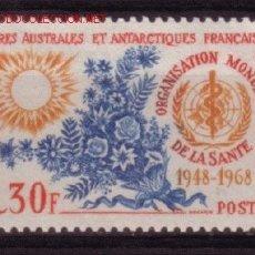 Sellos: TIERRAS AUSTRALES Y ANTART. FRANC. 26** -AÑO 1968 -20º ANIV. DE LA ORGANIZACION MUNDIAL DE LA SALUD. Lote 26379767