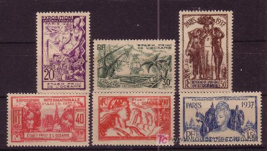 OCEANIA FRANCESA 121/26*** AÑO 1937 - EXPOSICION INTERNACIONAL DE PARIS (Sellos - Extranjero - Oceanía - Otros paises)