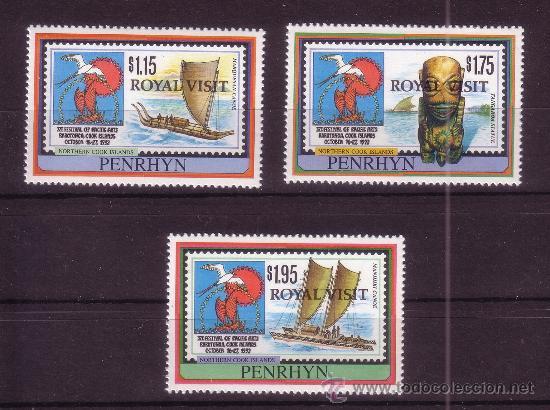PENRHYN 383/85*** - AÑO 1992 - VISITA REAL - BARCOS (Sellos - Extranjero - Oceanía - Otros paises)