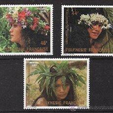 Timbres: POLYNESIA.- POLINESIA.- CORONAS DE FLORES Y BELLEZAS FEMENINAS.- 3 VAL. AÑO 1983. Lote 19144123