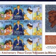 Sellos: MICRONESIA AÑO 1992 MI HB 254/58*** 25 ANVº CUERPOS DE PAZ - PERSONAJES - DEPORTES - NIÑOS. Lote 27465420