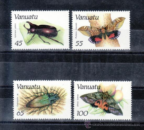 VANUATU 784/7 SIN CHARNELA, FAUNA, INSECTOS, (Sellos - Extranjero - Oceanía - Otros paises)