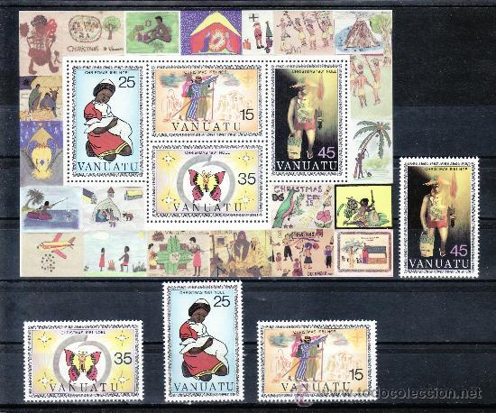 VANUATU 635/8, HB 2 SIN CHARNELA, NAVIDAD, DIBUJADO POR ESTUDIANTES, (Sellos - Extranjero - Oceanía - Otros paises)