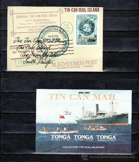 TONGA HB 2/3 SIN CHARNELA, BARCO, MAPA, CENTENARIO DEL SERVICIO POSTAL EN BOTE (Sellos - Extranjero - Oceanía - Otros paises)