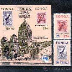 Sellos: TONGA 582/3, HB 5 SIN CHARNELA, FAUNA, AUSIPEX 84 EXPOSICION FILATELICA INTERNACIONAL, . Lote 23904944