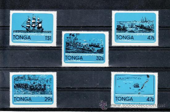 TONGA 492/6 SIN CHARNELA, BARCO, 175º ANIVERSARIO DE LA CAPTURA DEL BARCO PIRATA -PORT AU PRINCE- (Sellos - Extranjero - Oceanía - Otros paises)
