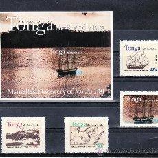 Sellos - tonga 484/7, hb 1 sin charnela, barco, mapa, bicentenario descubrimiento isla por el español franci - 23905386