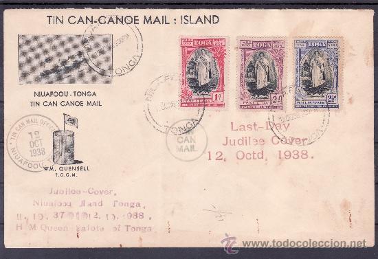 TONGA 70/2 MATASELLO 12/10/1938 ULTIMO DIA CIRCULACION CORREO POR CANOA, RARA, VER + FOTO (Sellos - Extranjero - Oceanía - Otros paises)