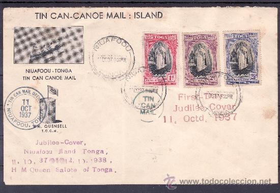 TONGA 70/2 MATASELLO 11/10/1938 PRIMER DIA CIRCULACION CORREO POR CANOA, RARA, VER + FOTO (Sellos - Extranjero - Oceanía - Otros paises)