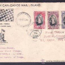 Sellos: TONGA 70/2 MATASELLO 11/10/1938 PRIMER DIA CIRCULACION CORREO POR CANOA, RARA, VER + FOTO. Lote 23905491